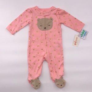 Child of Mine: Pink TeddyBear Sleep 'N Play Footie